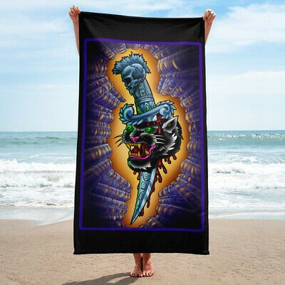 Details about Dagger and Panther Head Tattoo Beach Towel