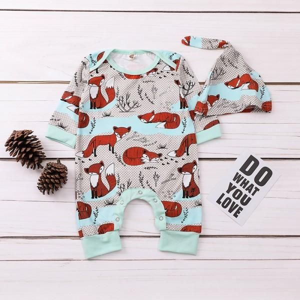 Baby Infant Toddler Long Sleeve Baby Clothes Grows On Trees Unisex Button Playsuit Outfit Clothes