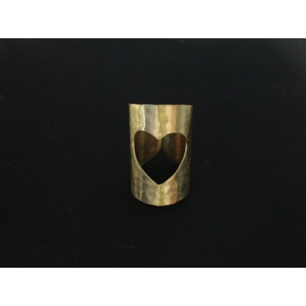 Gold Handcrafted Love Ring Cut Out Heart Cuff Wide Band Geometric Adjustable Gift For Her Hand Hammered Metalwork Handmade Greek Jewelry (€18) found on Polyvore featuring women's fashion, jewelry, rings, gold heart ring, gold bangles, yellow gold bangle bracelet, yellow gold rings and heart rings