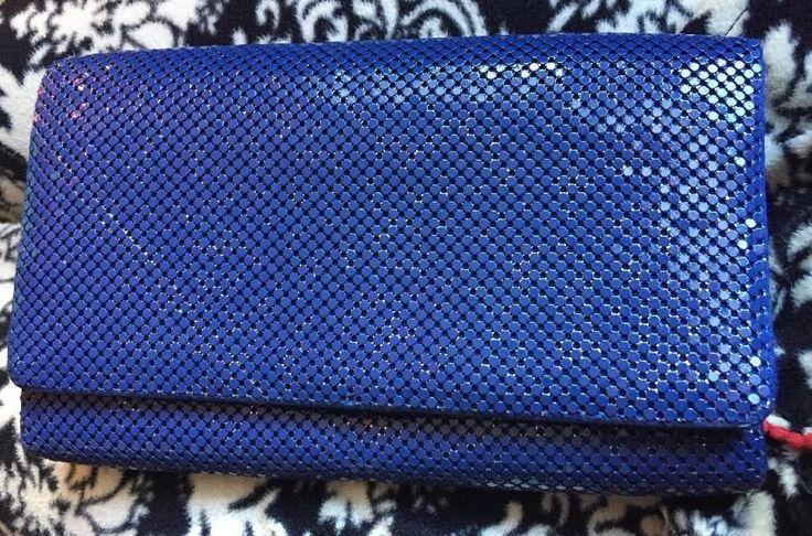 WD Whiting & Davis Blue Metal Mesh Bifold Wallet #WhitingDavis #Bifold
