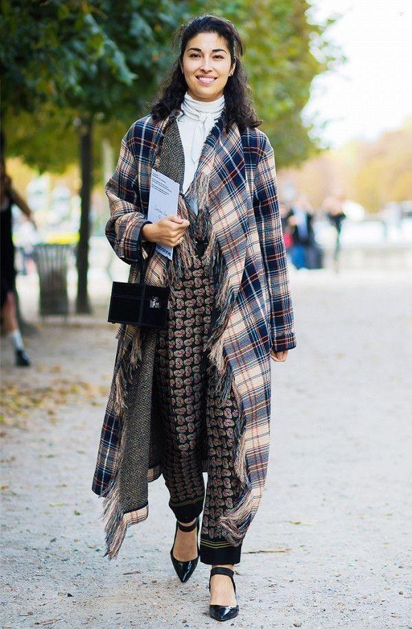 Plaid shawl + printed pants... - Street Style