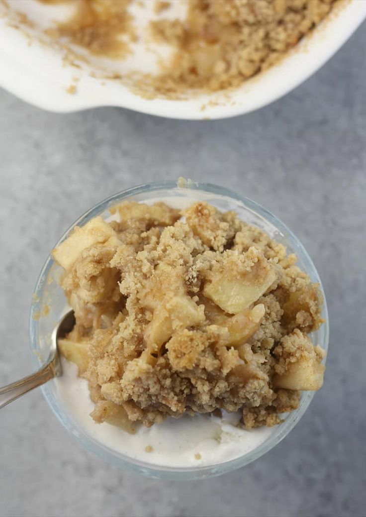Easy Apple Crisp without Oats with Streusel in dessert cup.