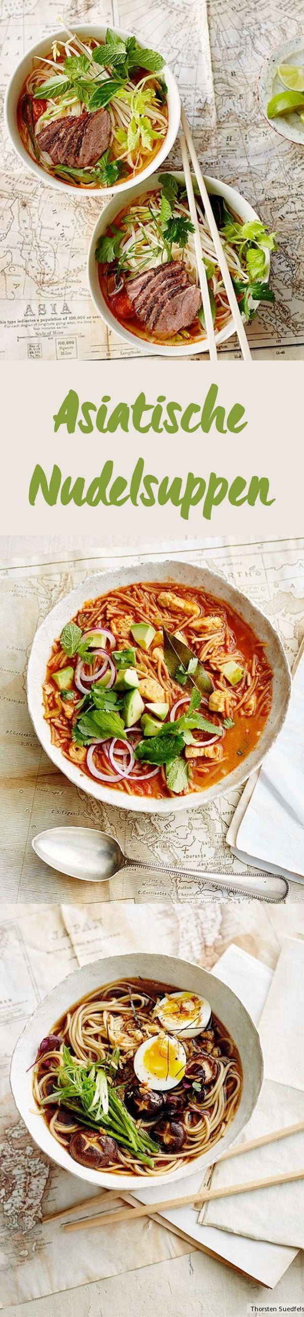 Ob Pho-Suppe mit Reisnudeln in süßlich-herbem Rinderfond oder Ramen mit Shiitake – Hier finden Sie köstliche Rezepte rund um das Thema Nudelsuppe.