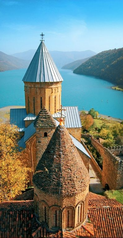 Ananuri Castle - Ananuri is feudal period (XVI-XII) fortress on the Aragvi River in Georgia, about 45 miles from Tbilisi. It was the residence of the Eristavis (dukes) of Aragvi. The ensemble contains citadel, castle and towers. The main architectural building of the ensemble is the big Church Of Assumption with dome. The facades are richly decorated. Inscriptions on the wall prove that the church was built in 1689 by order of one of the dukes of Aragvi.