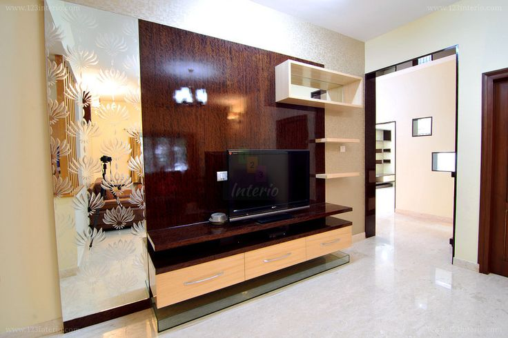 TV Unit Informal Living Room - Veneer with PU finish, Mirror artwork and wall paper