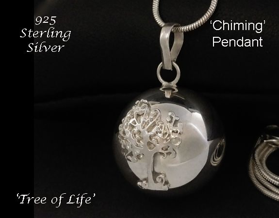 Fabulous 'Exclusive' Chiming Tree of Life Necklace featuring a Sterling Silver Chiming Harmony Ball set with a Silver Tree of Life  #treeoflife #treeoflifenecklace #treeoflifejewelry #treeoflifependant #treeoflifejewellery #celtic #celtictreeoflife #gifts #fashion #giftsforher #mothersdaygifts #pregnancygift #womensfashion