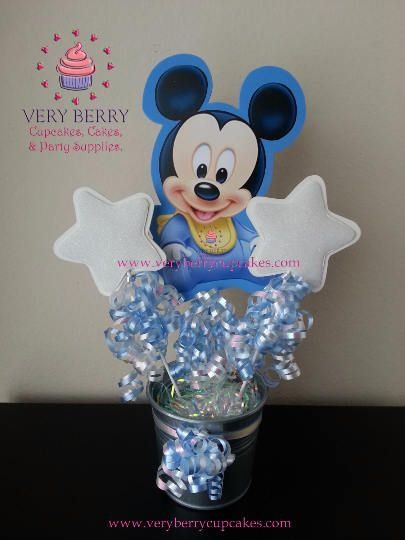 3 Baby Mickey Mouse Centerpieces/Mickey Centerpieces/Mickey Mouse clubhouse centerpieces/Baby Minnie Centerpieces by VeryberryCupcakes on Etsy