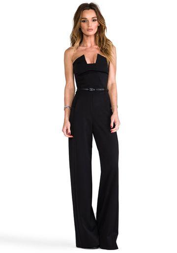 BLACK HALO Lena Jumpsuit in Black - Rompers & Jumpsuits