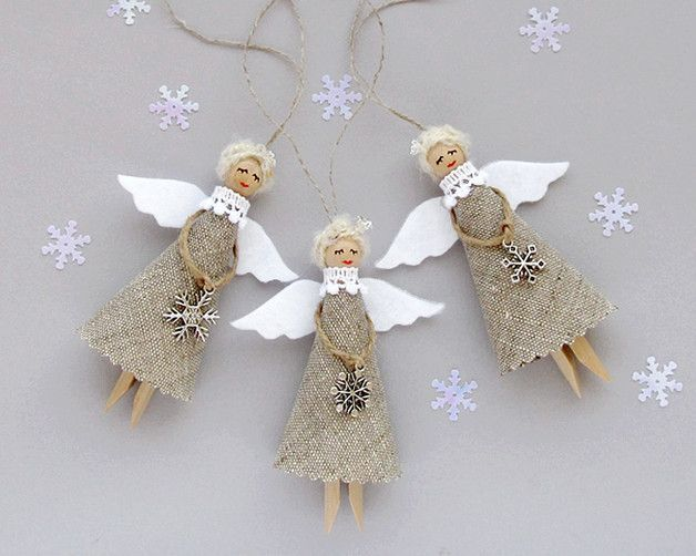 #ChristmasOrnaments #Angels #ChristmasDecor - This set of three **Angel Christmas** in burlap, to decorate the Christmas tree. It's wonderful gift for the holiday! Decoration was made using wooden dolly peg, linen, felt, threads, lace, charm...