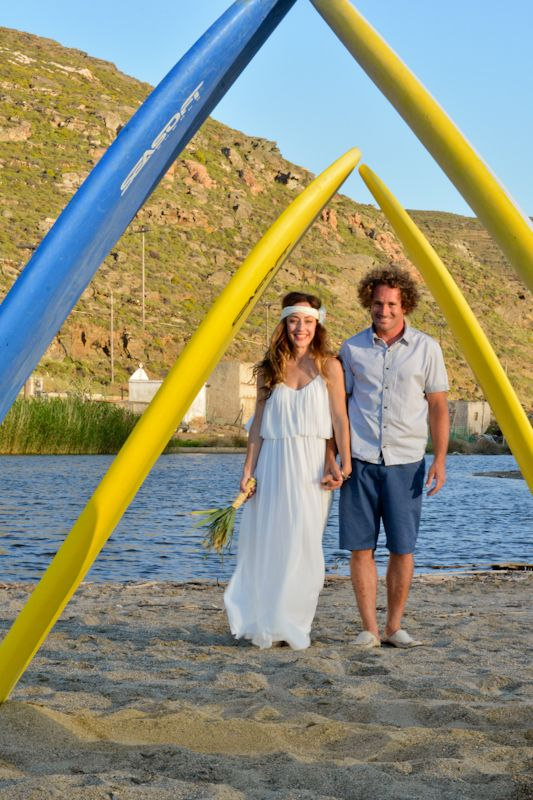 surf wedding, Tinos, Greece