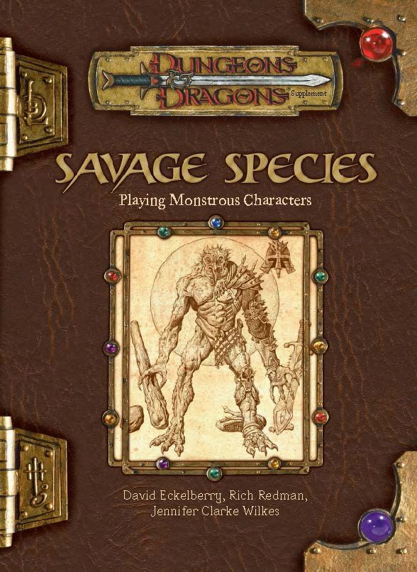 Savage Species (3e)   Book cover and interior art for Dungeons and Dragons 3.0 and 3.5 - Dungeons & Dragons, D&D, DND, 3rd Edition, 3rd Ed., 3.0, 3.5, 3.x, 3E, d20, fantasy, Roleplaying Game, Role Playing Game, RPG, Open Game License, OGL, Wizards of the Coast, WotC, TSR Inc.   Create your own roleplaying game books w/ RPG Bard: www.rpgbard.com   Not Trusty Sword art: click artwork for source