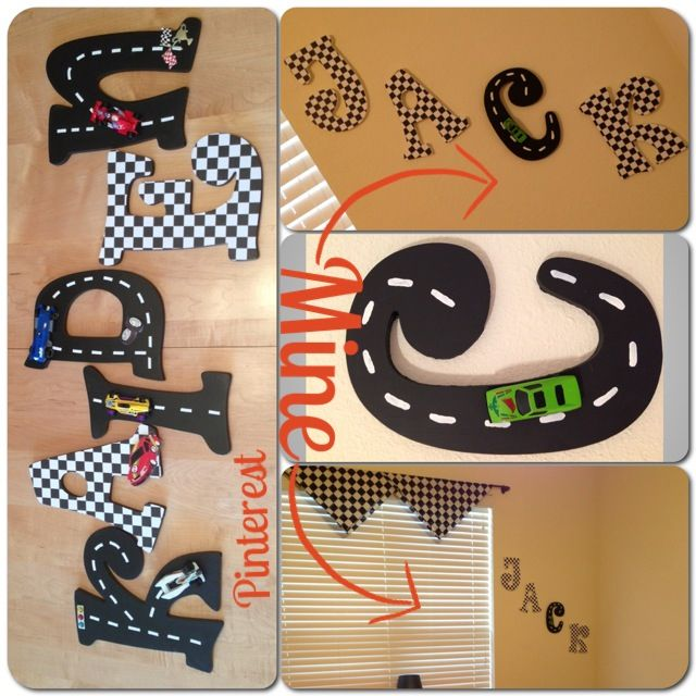 Race car checkered flag letters for Jackson's room, Pinterest version and my version :)
