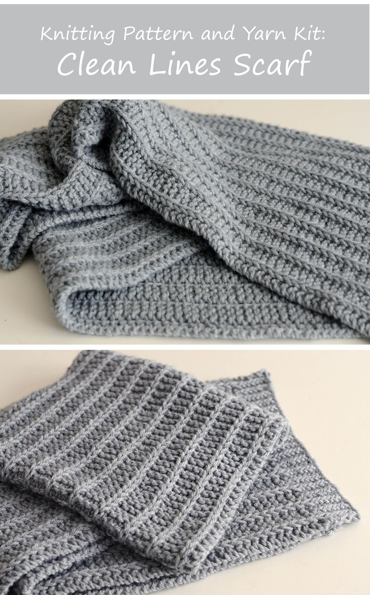 Clean Lines Scarf | Knitting kit, including 4 skeins of Berroco Vintage Chunky and our Clean Lines Scarf pattern!