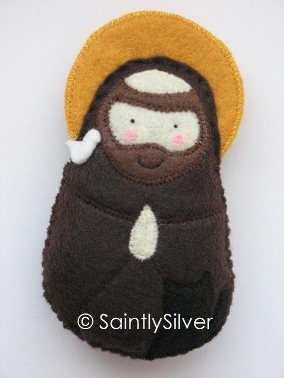 Saint Francis of Assisi Felt Saint by Saintly Silver via etsy!  Has Prayer of St. Francis on the back.