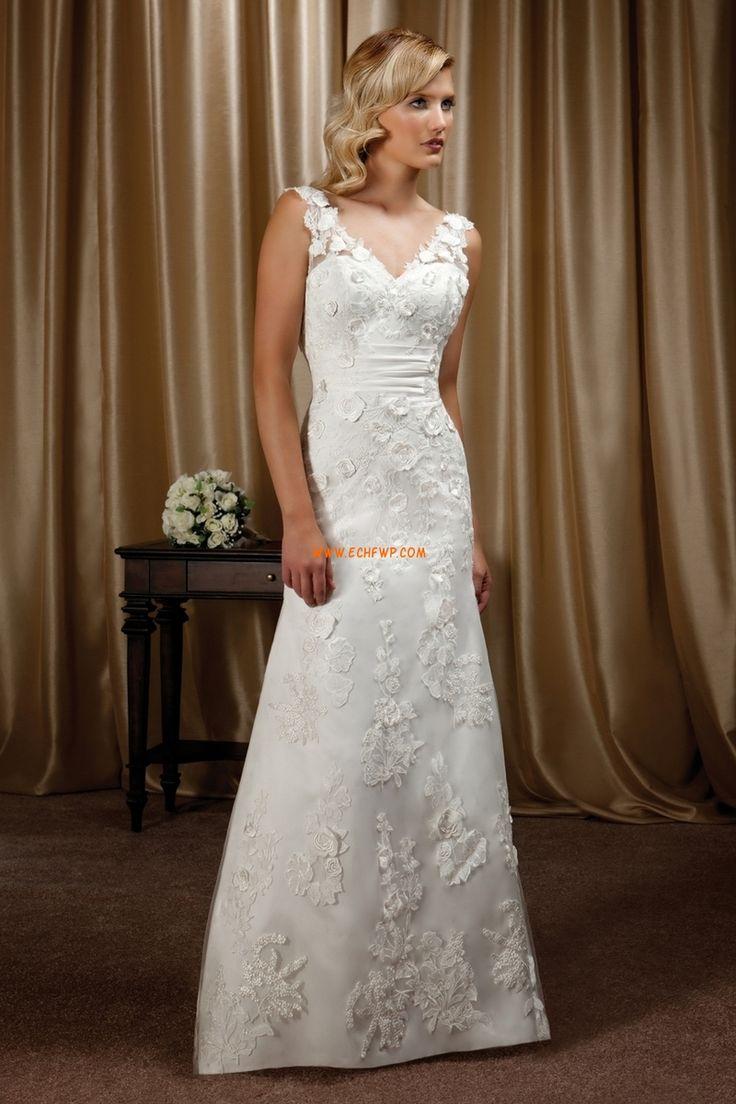 Ärmlös Blomma (or) Dragkedja Lyx Bröllopsklänningar