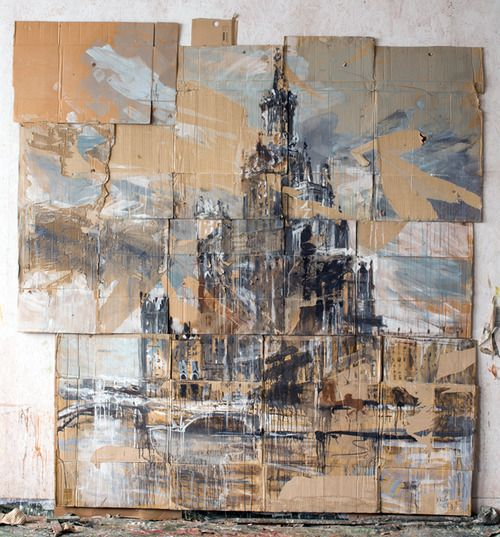 Valery Koshlyakov - High-rise on Raushskaya Embankment (2006) - Tempera on Cardboard Texture! paper art Visual Texture Suitable to aid with GCSE Question like Textures