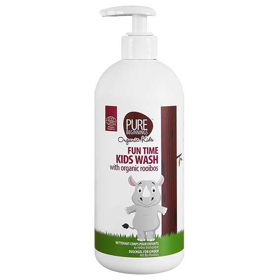 500ml  FUN TIME KIDS WASH - with organic rooibos **Ultra-mild surfactants – will not strip the skin of natural oils **Organic rooibos leaf extract – rich in antioxidants and has powerful soothing and healing properties  **Organic orange peel oil – calming and anti-inflammatory properties  **Organic ylang ylang flower oil – fragrant skin balancing oil also has relaxing properties