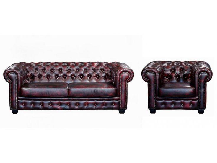 ¡Opta por el encanto de esta colección de sofás y sillones chesterfield 100% piel de búfalo BRENTON! ¡No puede faltar en un hogar elegante y acogedor!