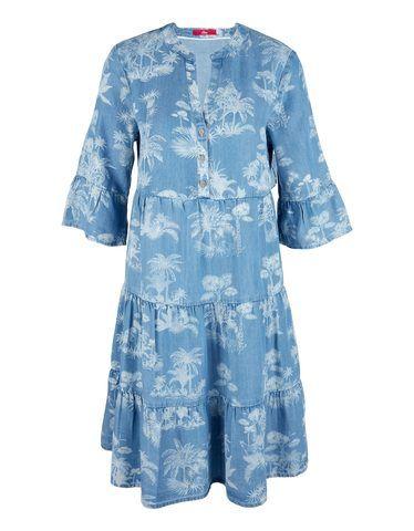 tunika kleid mit volant lyocell denim s oliver kleider kleid mit