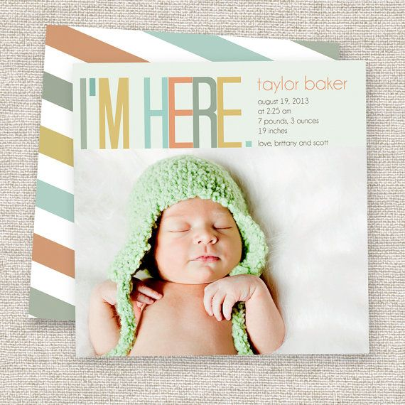 Birth Announcement Baby Boy or Baby Girl Card Modern photo baby announcement. via Etsy.