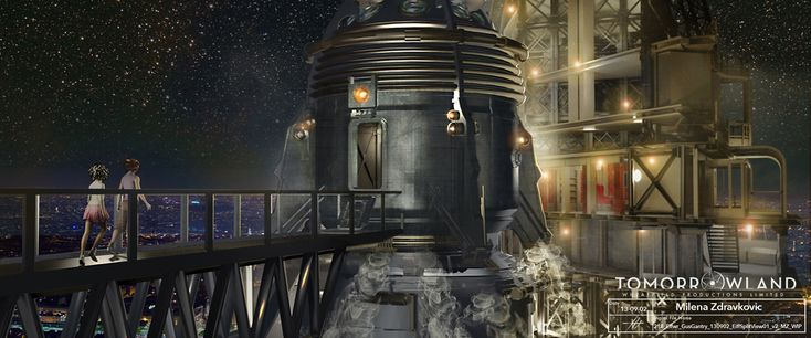 Tomorrowland pre-production movie concept illustration by Milena Zdravkovic for Scott Chambliss. Athena and Casey cross the rocket gantry to the Spectacle, Paris. - LOTS IF TOMORROWLAND CONCEPT ART THIS IS NOT A DRILL