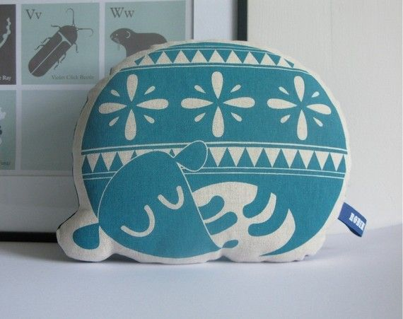 Hand Screen Printed Sleepy Dog in Teal by robinandmould on Etsy, £16.00