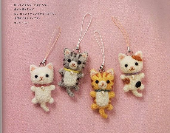 Needle Felt Cute Cats PDF Patterns Kawaii Ebook Free by Crafterica, $3.00
