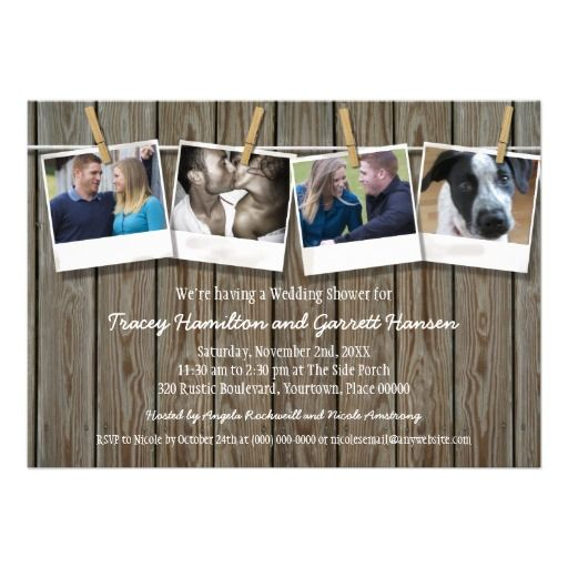 Rustic Clothesline Photo  Wedding Shower Custom Announcements Could do on picmonkey and print on color printer...