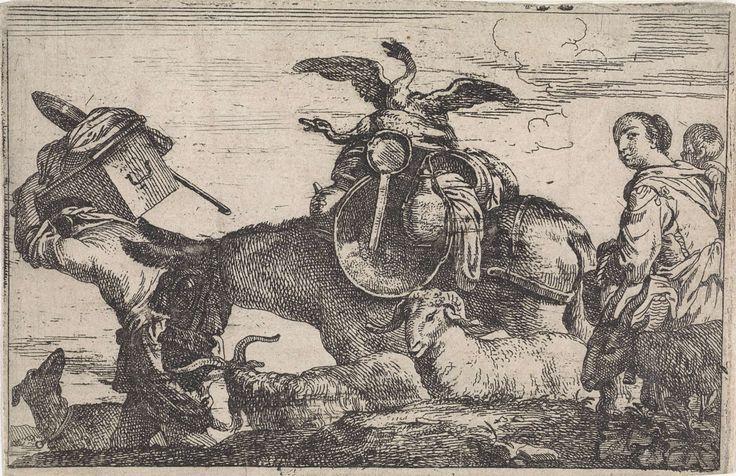 Jan Baptist de Wael   Ezel beladen met twee ganzen en huisraad, Jan Baptist de Wael, 1642 - 1669   Landschap met een familie op reis. De man draagt een doos met huisraad op zijn rug en trekt de beladen ezel voort. Zijn vrouw volgt met het kind op de arm.