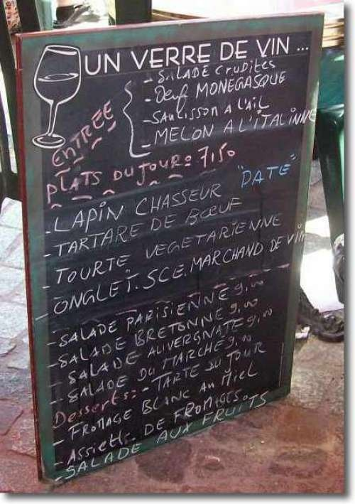 French menu...I can understand almost all of it!!!!!