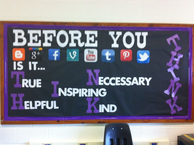 Another Social Media Bulletin Board using the THINK acronym for respectful internet use.