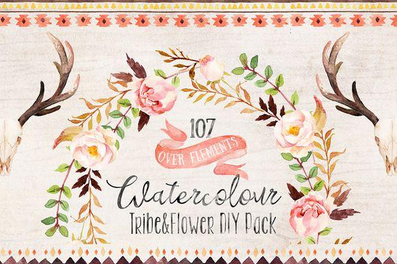 Watercolour Tribe&Flower DIY+Bonus by Graphic Box on Creative Market