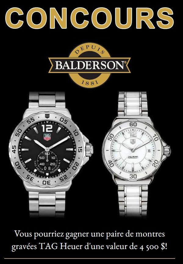 Concours Balderson une Paire de Montres TAG Heuer à GAGNER 4500$