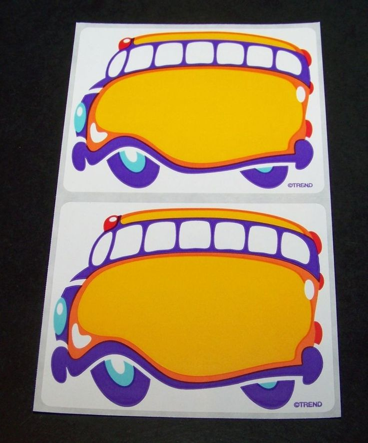"""School Bus Name Tags Labels 20 Count Trend Self-Adhesive 3"""" Teaching Supplies…"""