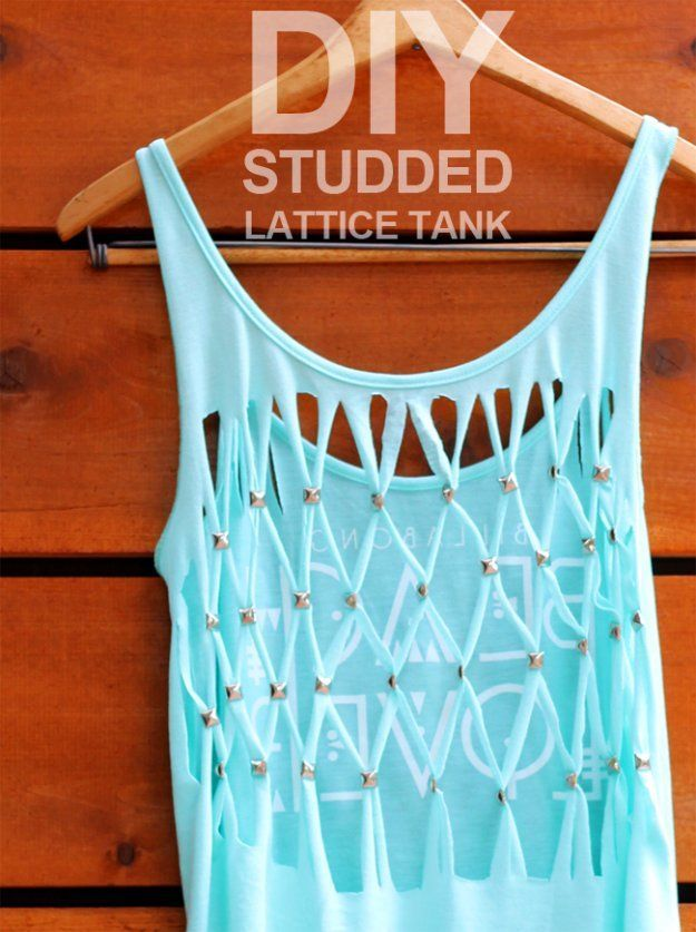 T-Shirt Makeovers - DIY Studded Lattice Tank Top From a T--Shirt - Awesome Way to Upcycle Tees - Cool No Sew Tshirt Cutting Tutorials, Simple Summer Cutouts, How To Make Halter Tops and T-Shirt Dresses. Easy Tutorials and Instructions for Teens and Adults http:diyprojectsforteens.com/diy-tshirt-makeovers