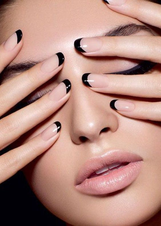 Nude + Black French Manicure ❤︎