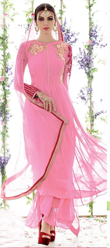 436942 Pink and Majenta color family Party Wear Salwar Kameez in Faux Georgette fabric with Machine Embroidery work .
