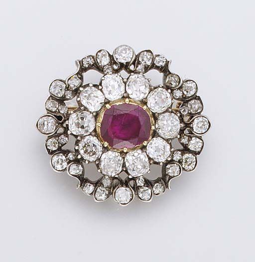 AN HISTORICALLY IMPORTANT ANTIQUE RUBY AND DIAMOND BROOCH ...