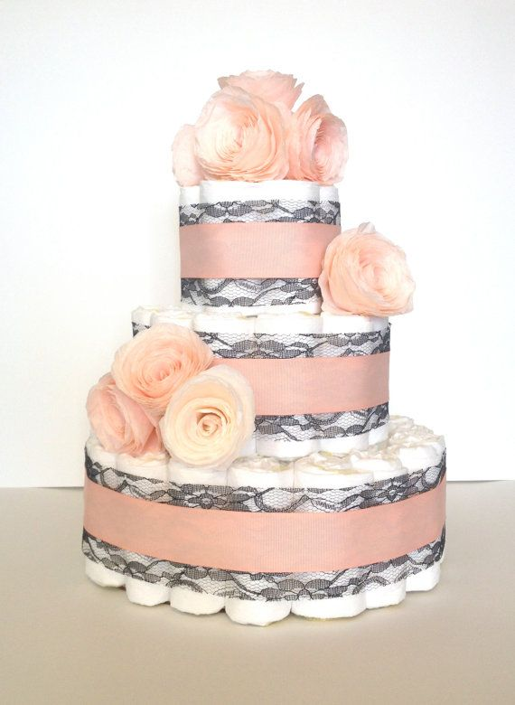 Lace and Flowers Diaper Cake  3 tier baby by LuxeDiaperCakes