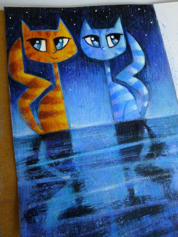 Pussycats by Eddy Crosby (Gouache on paper) www.eddycrosby.com