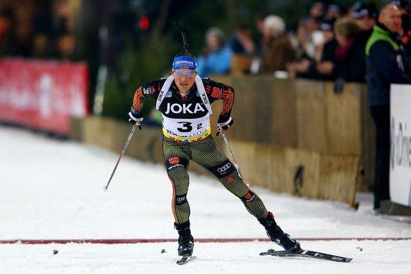 Erik Lesser of Germany skates durign the mass start race of the JOKA Biathlon World Team Challenge 2016 at Veltins-Arena on December 28, 2016 in Gelsenkirchen, Germany.