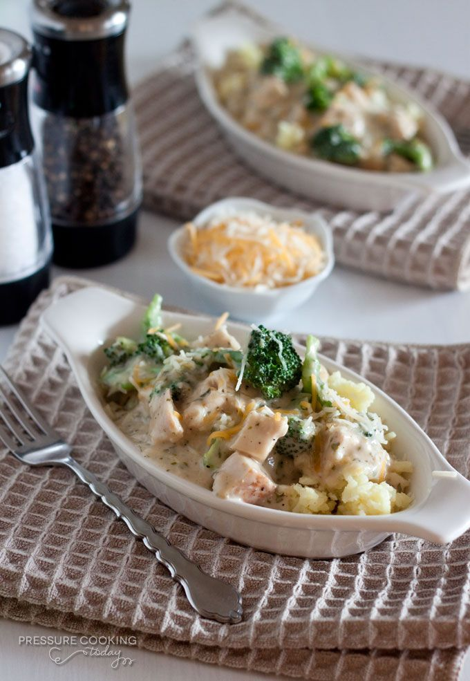 Creamy Chicken and Broccoli over Rice from Pressure Cooking Today - Ready in less than 30 minutes.