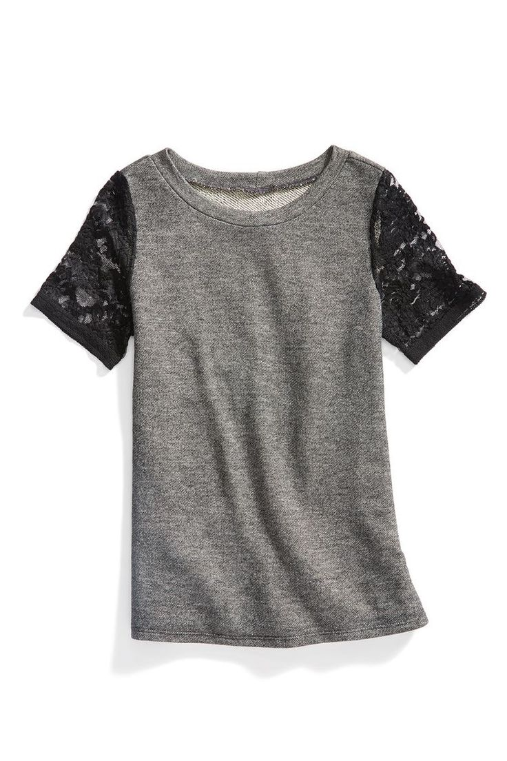 Grey lace sleeve detail short sleeve top. Casual or dressy. Great look for everyday fashion. Stitch fix fashion trends. Stitch fix fall 2016.