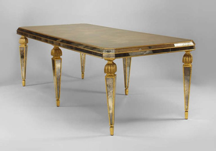 Opulent Italian Mirror and Gilt Wood Dining Table