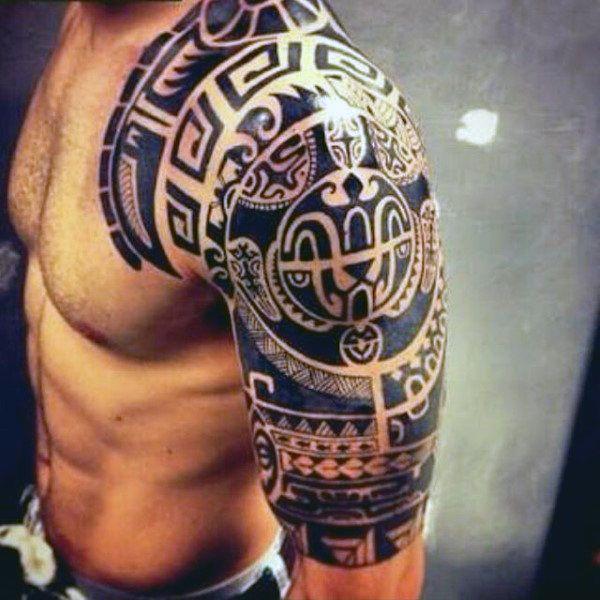 75 Half Sleeve Tribal Tattoos For Men Masculine Design Ideas Tribal Arm Tattoos Tribal Shoulder Tattoos Cool Tribal Tattoos