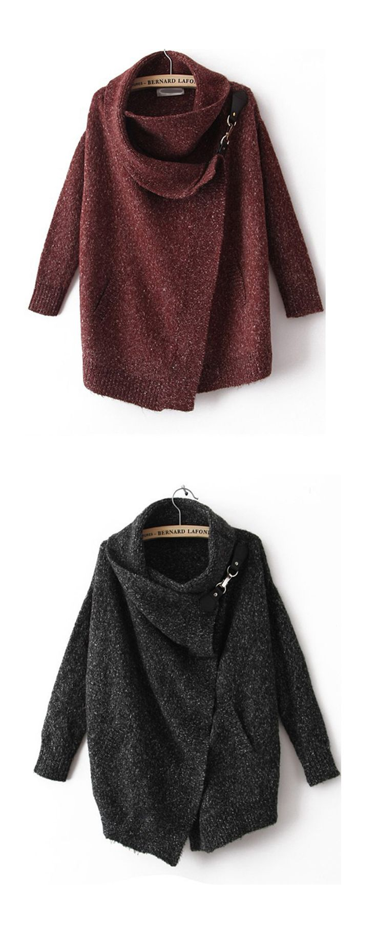 Winter colors: Black or burgundy Lapel Ouch Cardigan Sweater, feature in Cocoon collar and asymmetric design .More cheap cardigans at shein.com