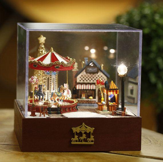 DIY Miniature Merry Go Round Music Box House Door UniTime