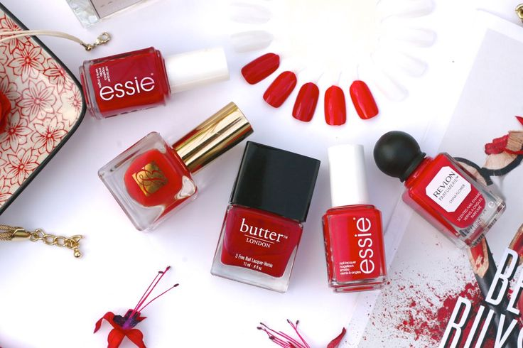 Favourite Red Nail Varnish and Red Nail Polish featuring Essie, Butter London, Estee Lauder & Revlon.  Check out more on the blog www.franklyflawless.com