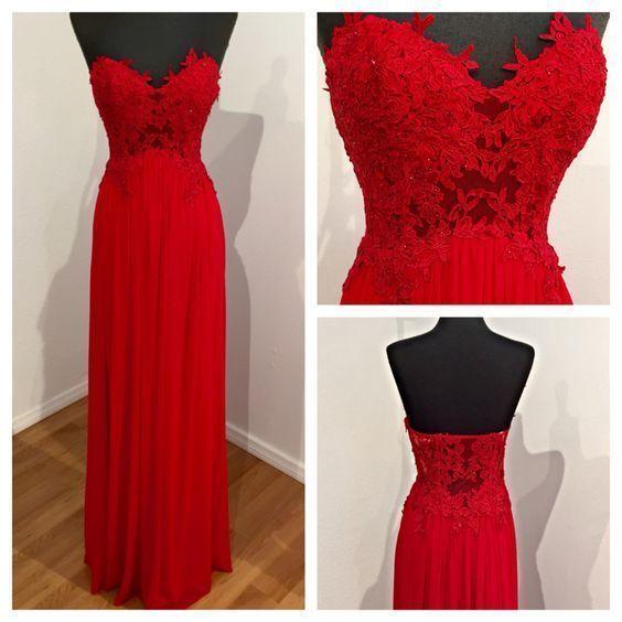 Charming Prom Dress, Long Prom Dress,Red Chiffon Prom Dress,Backless Evening Dress by fancygirldress, $159.00 USD