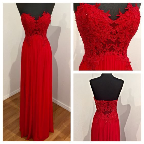 Charming Prom Dress, Long Prom Dress,Red Chiffon Prom Dress,Backless Evening Dress by fancygirldress, $159.00 USD